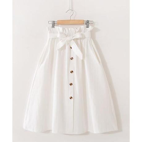 Chân váy nữ thời trang chữ A đính cúc kèm dây đai thắt nơ vải kaki cao cấp free size VAY05 1