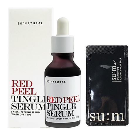 Tinh chất tái tạo da sinh học So Natural Red Peel Tingle Serum Tái tạo da 35ml+ Tặng kèm 1 mặt nạ sủi bọt Su m 37 Đen 1