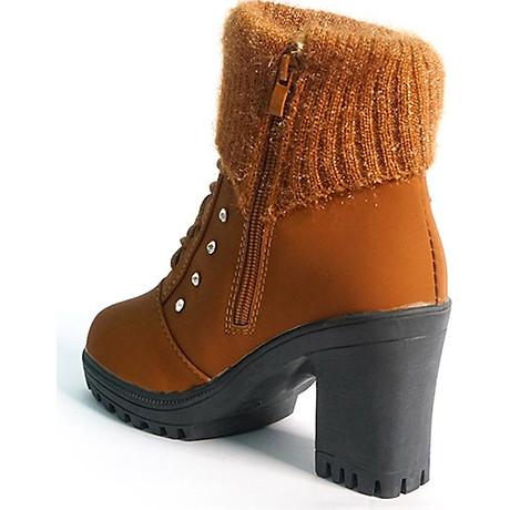 Giày boot nữ đế vuông S106 (Nâu) êm chân, phù hợp đi bộ, đi chơi. 5