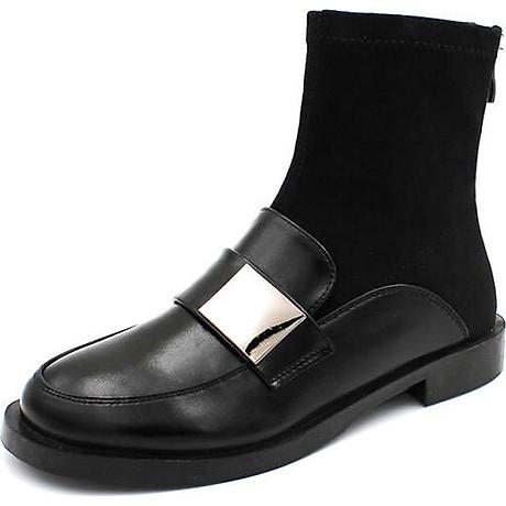 Giày Boot Nữ Da Phối Da Lộn 2