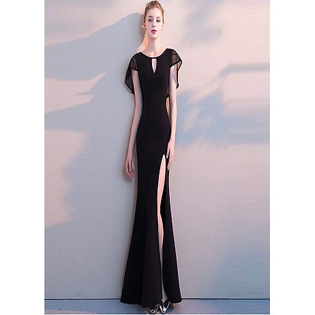 Đầm Cao Cấp Dự Tiệc Đen Ren Choàng Xẻ Đùi Đuôi Cá 1