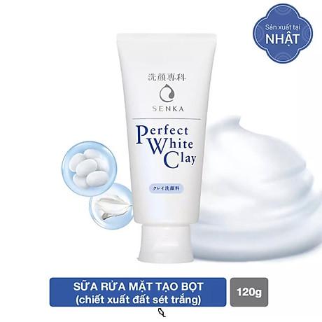 Combo 2 Tuýp Sữa Rửa Mặt Đất Sét Trắng Sạch Sâu Sáng Mịn Senka Perfect White Clay Chiết Xuất Tơ Tằm Dưỡng Ẩm (120g) 3