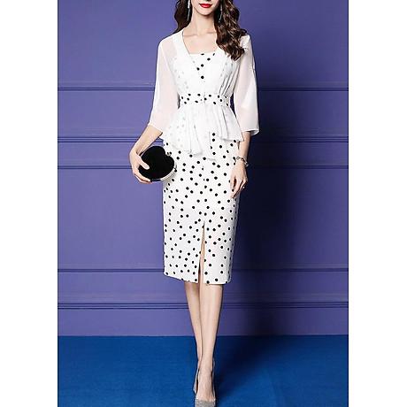 Đầm ôm dự tiệc kiểu đầm ôm chấm bi hai dây xẻ lai phối áo khoác ROMI 3100 2