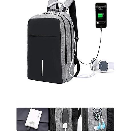 Balo laptop nam nữ thời trang công nghệ có cổng USB, phản quang và mã khóa 2