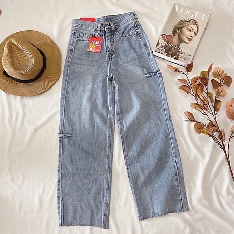 Quần Jeans Nữ Ống Rộng Phối Rách 270 5