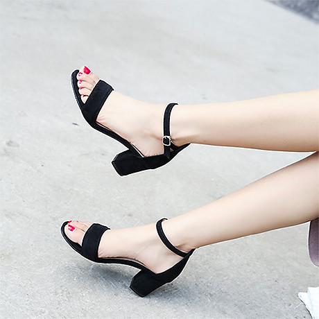 Giày cao gót 7 phân màu đen chất da lộn đế vuông quai ngang bản nhỏ 3