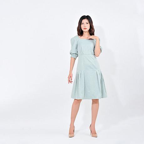 Váy đầm công sở nữ thời trang Eden kẻ caro cổ vuông tay lỡ. Kiểu dáng nữ tính. Màu sắc trẻ trung - D410 4