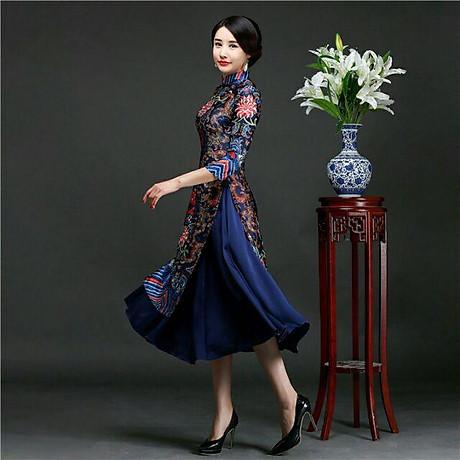 Set áo dài cách tân kèm váy thổ cẩm BY2004A 1