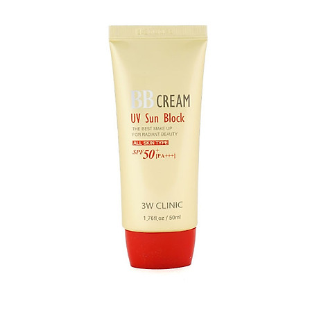 Kem nền chống nắng và dưỡng ẩm BB Cream UV Sun Block 3W Clinic SPF 50+ PA+++ 50ml - Hàn Quốc Chính Hãng 4