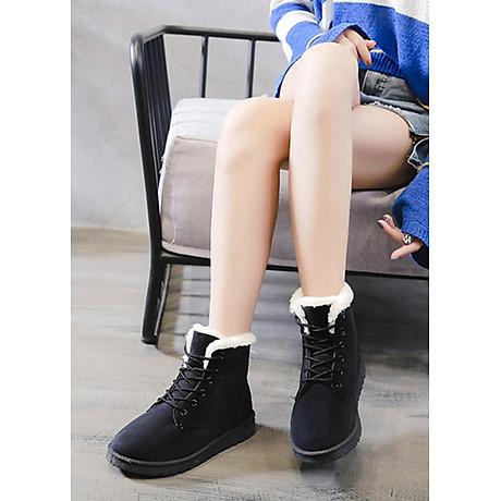 Giầy bốt nữ cổ ngắn, chất liệu da lộn lót lông ấm áp, thời trang trẻ, phong cách Hàn Quốc (Đen) 3
