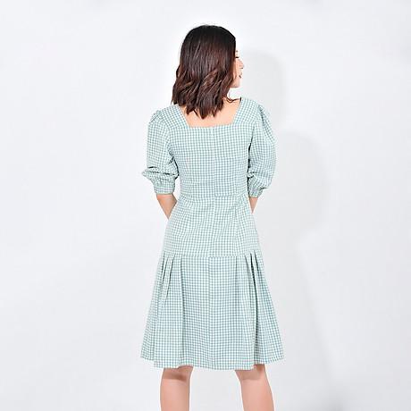 Váy đầm công sở nữ thời trang Eden kẻ caro cổ vuông tay lỡ. Kiểu dáng nữ tính. Màu sắc trẻ trung - D410 6