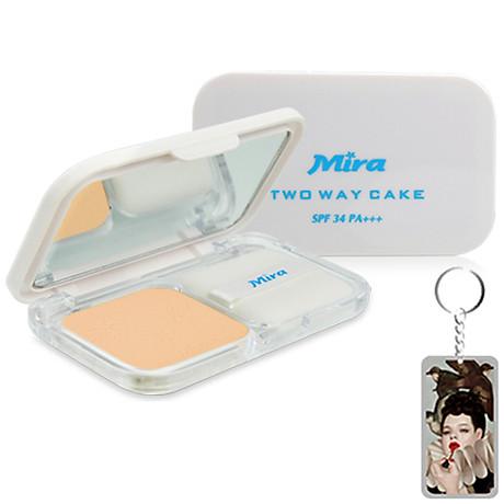 Phấn nén trang điểm siêu mịn Mira Two Way Cake Hàn Quốc 12g No.13 Bright Beige tặng kèm móc khoá 1