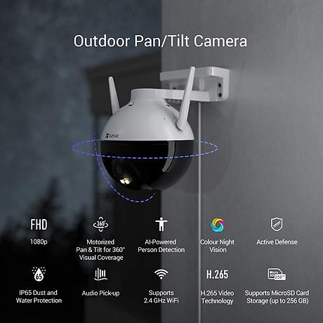 Camera IP Wifi PTZ EZVIZ C8C FHD 1080P - Xoay 355 độ, tích hợp AI nhận diện con người - ban đêm có màu - hổ trợ thẻ nhớ lên đến 256G - hàng nhập khẩu 2