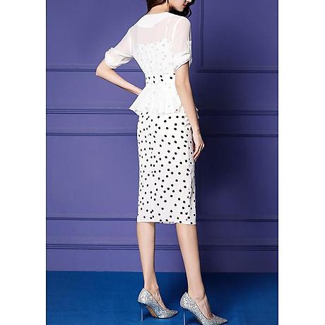 Đầm ôm dự tiệc kiểu đầm ôm chấm bi hai dây xẻ lai phối áo khoác ROMI 3100 4