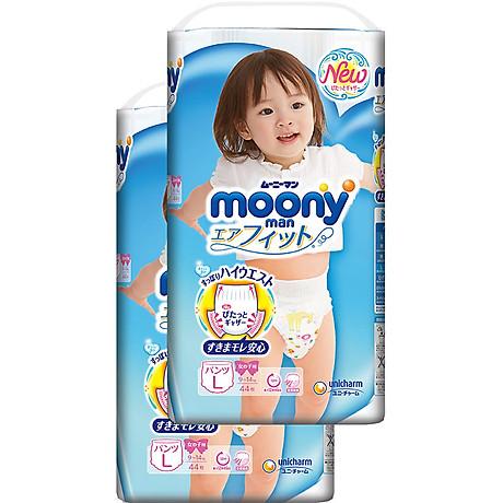Bộ 2 tã quần cao cấp bé gái Moony L44 [Tặng bộ quần áo Nous 18-24m] 2
