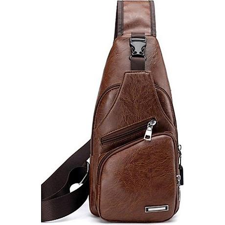 Túi đeo chéo nam da PU tiện dụng- nâu đen 1