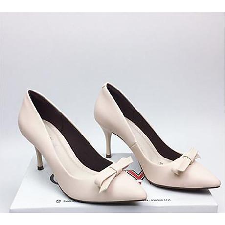 Giày cao gót da mềm cao cấp nơ xếp nhọn 7cm màu trắng sữa 1