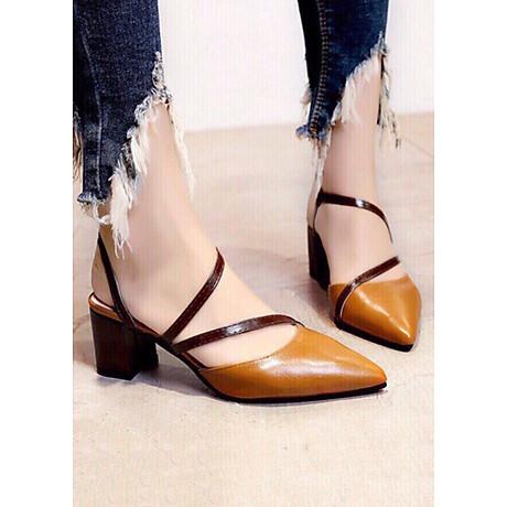 Giày cao gót 5cm dây chéo phối màu thời trang 2