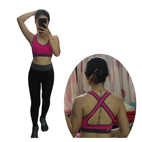 Bô quần áo fitness tập yoga, tập gym nữ cao cấp áo hai dây đan chéo sau lưng SR05 YG BH bộ hồng 2
