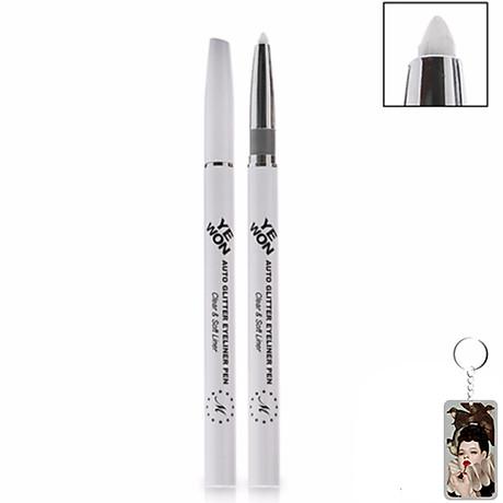 Chì mí kim tuyến Mira Glitter Auto Eyeliner Pen Hàn Quốc No.302 White Pearl tặng kèm móc khoá 1