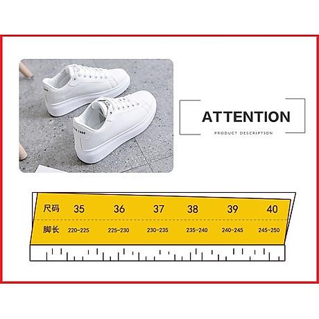 Giày thể thao sneaker nữ phong cách hàn quốc, màu trắng đế cao HMS-Sin1990 size từ 34 đến 40 5