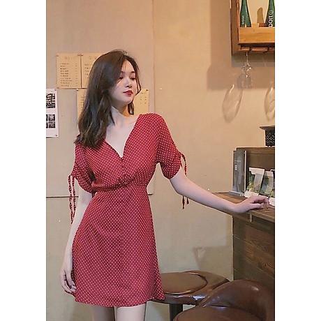 Đầm bi đỏ tay rút 6
