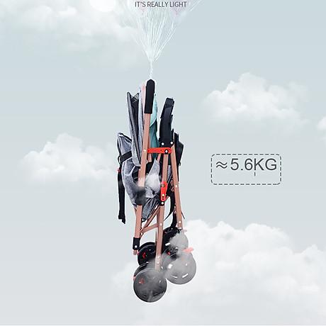Xe đẩy trẻ em 2 chiều 3 tư thế gấp gọn khi đi du lịch, khung chắc chắn có mái che 8