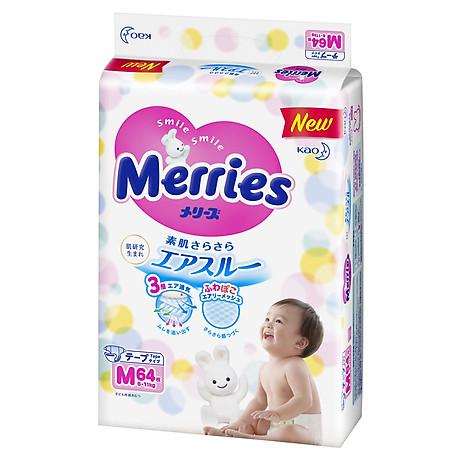 Combo 3 Tã Dán Merries Size M 64 miếng Bao Bì Mới (bé từ 6 - 11 kg) 2