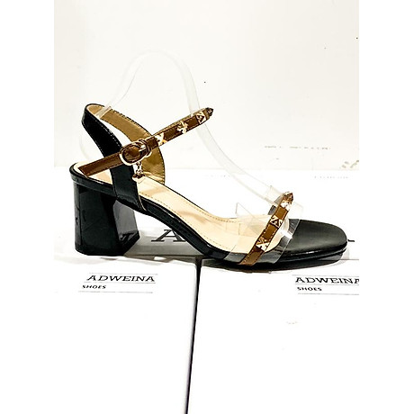 Giày Sandal Cao Gót 5p Quai Trong Đính Đinh 3
