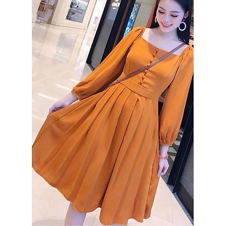 Đầm cam nút bọc xếp li 3