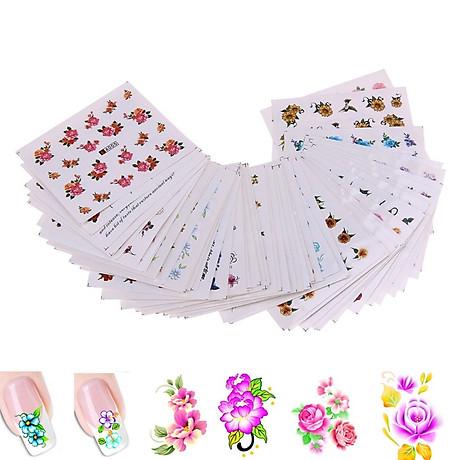 Bộ 10 tấm decal dán móng họa tiết bông hoa, cánh bướm - sticker trang trí móng nghệ thuật Nail art sang trọng H10 2