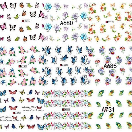 Bộ 10 tấm decal dán móng họa tiết bông hoa, cánh bướm - sticker trang trí móng nghệ thuật Nail art sang trọng H10 8