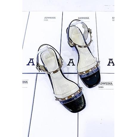 Giày Sandal Cao Gót 5p Quai Trong Đính Đinh 1