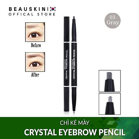 Chì kẻ mày 2 đầu không lem, không trôi Beauskin Eyebrow Crystal Eyebrow Pencil 03 Màu Khói - Hàn Quốc Chính Hãng 2
