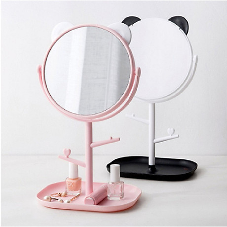 Gương trang điểm tai mèo tròn xoay 360 độ 4