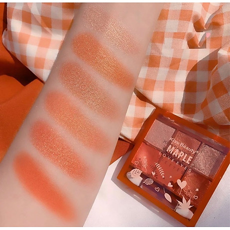 Full Set Trang Điểm Kiss Beauty Maple Suite 7 Sản Phẩm 5 Thỏi Son + 1 Bảng Phấn Mắt 6 Ô + 1 Phấn Má(Tặng kèm kẻ mắt nước Lameila) 7