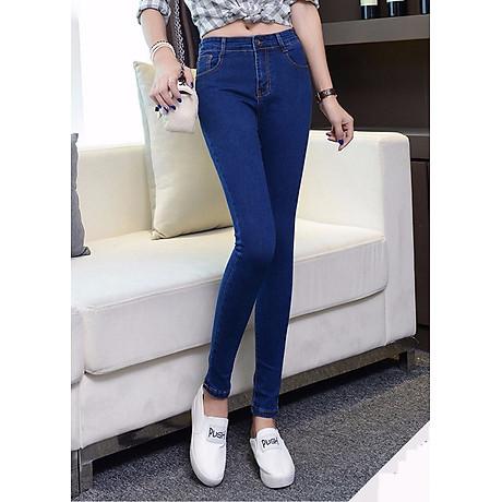 quần jean nữ trơn ống ôm wash xanh sáng 1