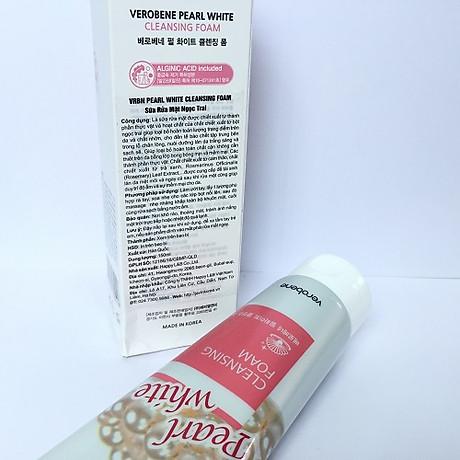 Sữa rửa mặt ngọc trai trắng da, dưỡng ẩm Verobene Hàn quốc 150ml Hộp- Hàng Chính Hãng 3
