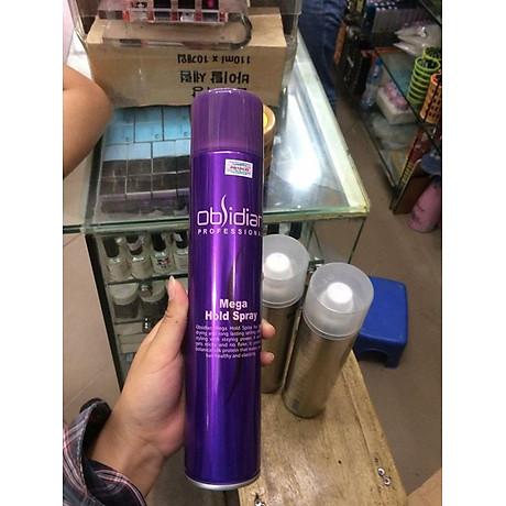 Gôm xịt tóc tạo kiểu tóc cứng Obsidian Mega Hold Pray Hàn Quốc 300ml tặng kèm móc khoá 4
