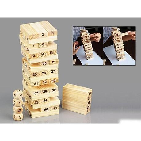 Bộ đồ chơi rút gỗ, đồ chơi gỗ thông minh, trò chơi rút gỗ Wiss Toy 54 thanh gỗ tự nhiên, game rút gỗ kèm 4 xúc xắc Tặng Kèm Móc Khóa 4Tech. 3