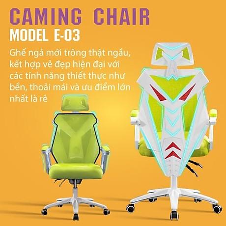 Ghế chơi game cao cấp, chân xoay ngã 135 độ dành cho game thủ có gối tựa đầu mẫu E03 Thái Lan (Hàng nhập khẩu) 3