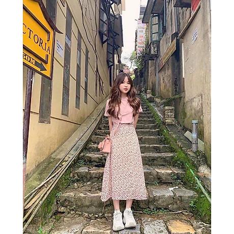 Chân Váy Nữ Hoa Xoè Eo Bo Chun Phía Sau 1