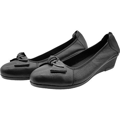 Giày Đế Xuồng 3cm Da Bò Thật Cực Mềm Đẹp Đơn Giản Sang Trọng, Cổ Chun Ôm Chắc Chân 3P0316 1