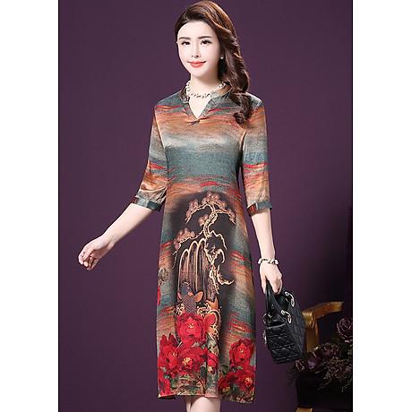 Đầm Suông BigSize Cổ Trụ In Họa Tiết Hoa Và Cá Kiểu Đầm Suông Trung Niên Dự Tiệc Size Lớn ROMI 1521D 2