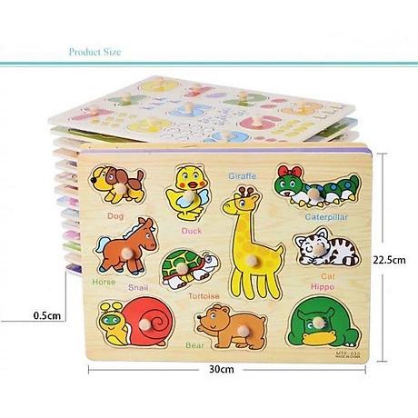 Đồ chơi lắp ráp bảng núm gỗ cho bé (23x30x0.5) 4