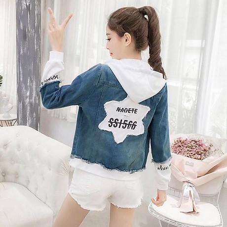 Áo Khoác Jeans Nữ Xanh Phối Trắng 4