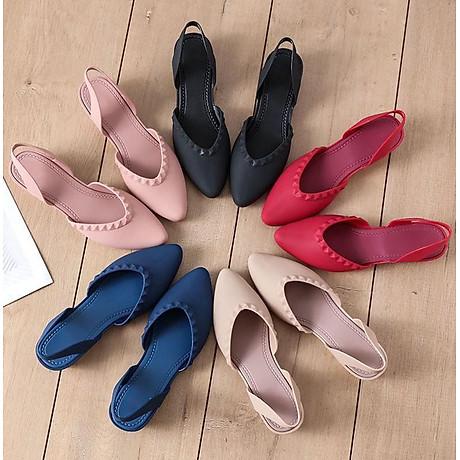 Giày nhựa đi mưa cao 3.5p, xăng đan phong cách Hàn Quốc màu đen, kem, hồng mẫu V192 4