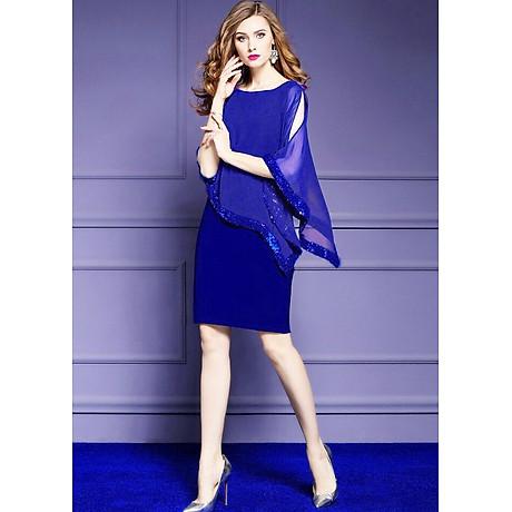 Đầm ôm dự tiệc đẹp kiểu đầm ôm trung niên phối voan đính kim sa bigsize 2