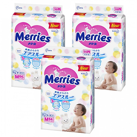 Combo 3 Tã Dán Merries Size M 64 miếng Bao Bì Mới (bé từ 6 - 11 kg) 1