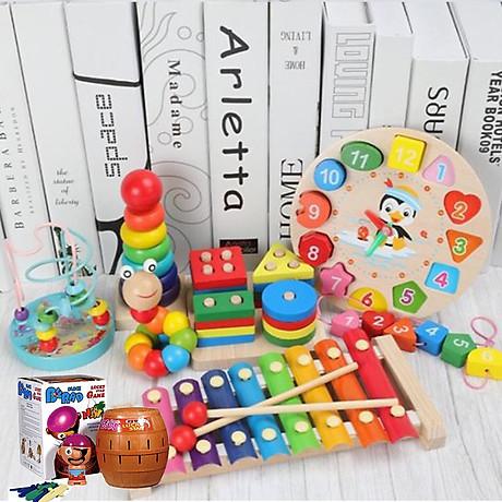 Combo 6 món đồ chơi gỗ an toàn cho bé- phát triển trí tuệ - Tă ng ke m theo bô đô chơi đâm ha i tă c cho be 1